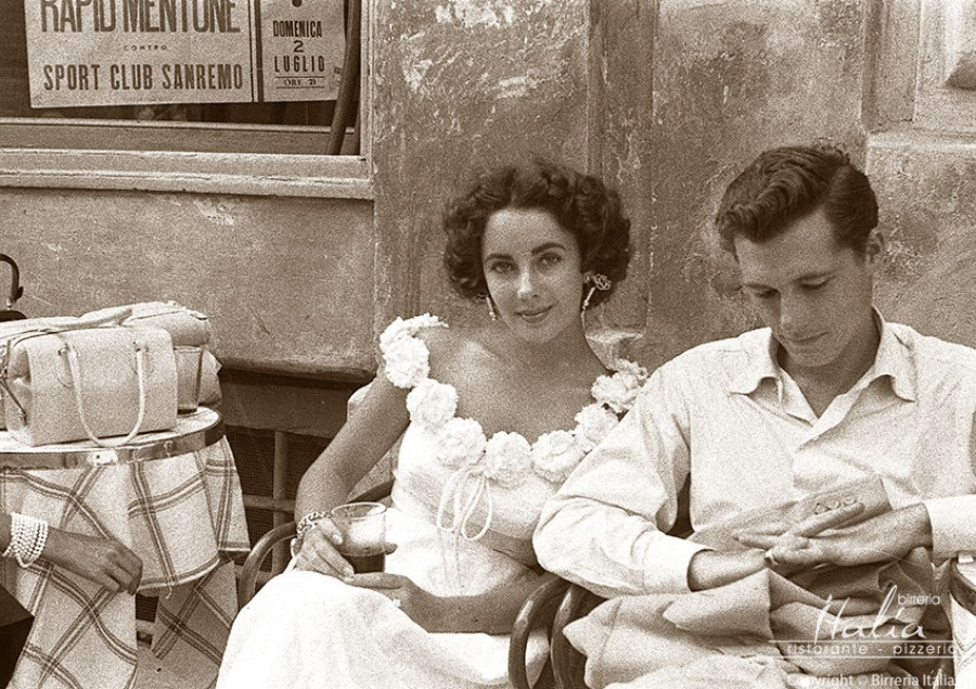 Elizabeth Taylor and her first husband Jack Hilton in Sanremo, 1950